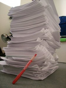 Actual pile of papers I had to grade as grad student TA