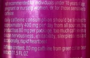 Caffeine Warning Label vitaminwater
