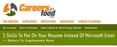 careers in food resume header