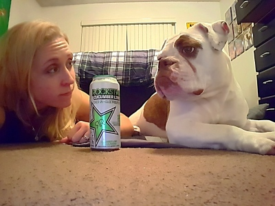GreenEyedGuide and Gjalla the bulldog review Rockstar Cucumber Lime energy drink