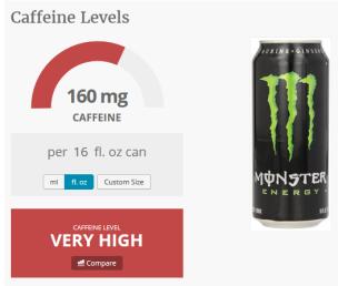 caffeine in monster